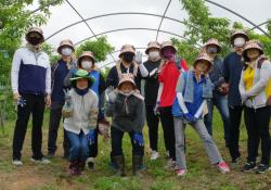 농촌일손돕기를 하기전 단체 사진입니다, 12명이 햋빛 가리게 모자를 쓰고서 찍은 사진입니다